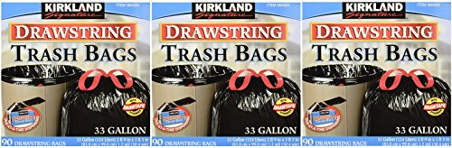 Kirkland Signature Drawstring Trash Bags - 33 Gallon - Xl Size - 4 Pack (90 count) by Kirkland Signature