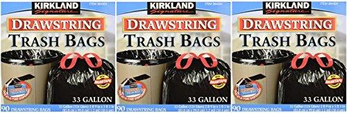 Kirkland Signature Drawstring Trash Bags - 33 Gallon - Xl Size - 4 Pack (90 count) by Kirkland Signature