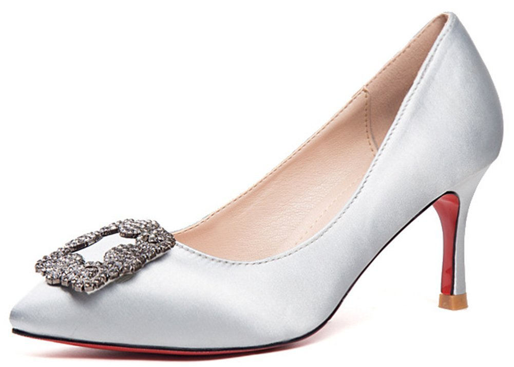 IDIFU Women's Dressy Rhinestone Stiletto Kitten Heel Pumps Pointed Toe Slip On Low Top Wedding Shoes Silver 8 B(M) US