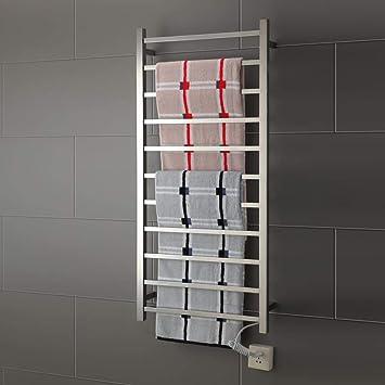 JackeyLove Toallero eléctrico, calienta toallero Carril Recto baño Cromado Calentador Radiador Rack calefacción Central,304: Amazon.es: Hogar