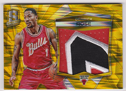 (Derrick Rose 2015-16 Panini Prizm Gold SPECTRA Jersey Swatch Patch Basketball Trading Card #5 Chicago Bulls #9/10)