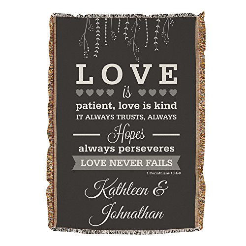 "Wedding Blanket - Personalized Love is Patient Wedding Afghan, 54"" x 38"", Wedding/Anniversary gift"