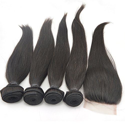 """Vedar Beauty 4 Bundle Hair Extension + 1 Closure 5A Full Cuticles 100% Remy Virgin Peruvian Straight Weave 4pcs 10"""" 12"""" 14"""" 16""""and 1 Piece Remy Hair Closure(4*4)10"""""""