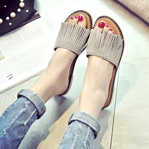 Jitong Women's Casual Slippers with Tassels Open-Toe Low Top Sandals Flat Shoes for Holidays Gray Ywuks