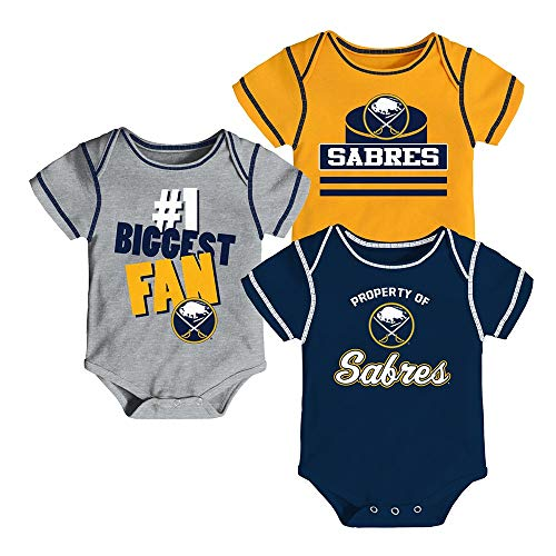 (Outerstuff Buffalo Sabres NHL Infant Navy/Gold/Grey #1 Biggest Fan 3 Piece Creeper Set )