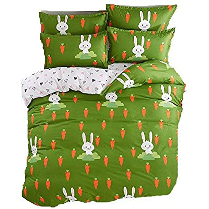 4pcs Children Beddingset Duvet Cover Set for Living Room Duvet Cover No Comforter Flatsheet Pillowcases KSN Twin Full Queen Cantoon Animal Bear Rabbit Dog Designs (Full, Happiness Rabbit, Green) Nova