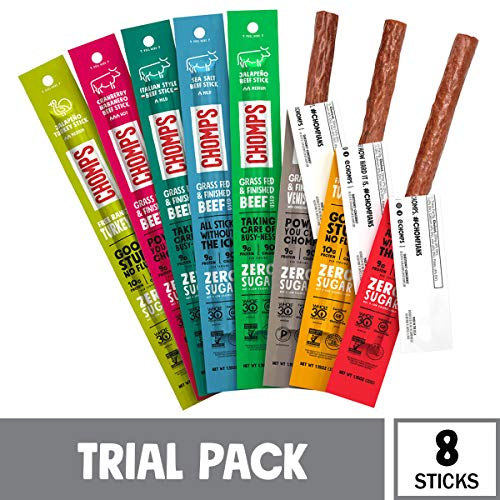 CHOMPS Grass Fed and Free Range Meat Sticks Variety Pack, Trial Pack of 8 Flavors   Keto, Whole30, Paleo Approved   Non-GMO, Nitrate Free   Sugar Free, Gluten Free