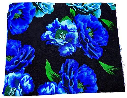 Jo Anns Fabric Animal Floral Ancient Garden Scene  Scottie Dog Camouflage   Small Yardage  Cobalt Blue Flowers