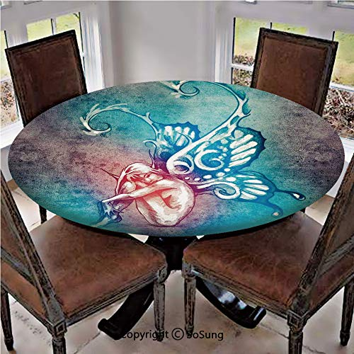 Elastic Edged Polyester Fitted Table Cover,Fairy with Butterfly Wings Renewal Female Rebirth Psyche Lightness of Being,Fits up 56