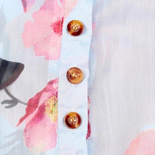 Camicetta blu floreali irregolare orlo chiffon superiore in con Amuster di casual donna stampati shirt da T bottoni con T7qfgYw