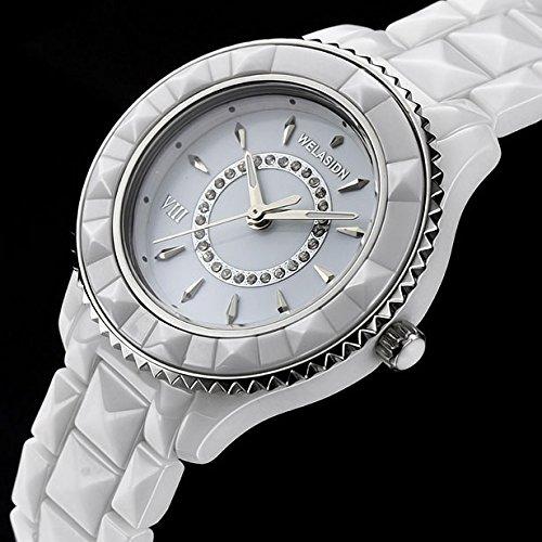 welasidn cerámica reloj para mujer Relojes de cuarzo cristal horas Mujeres Relojes Relogio de corazón colgante