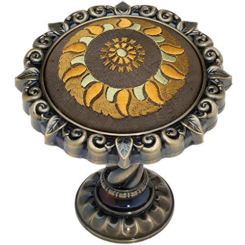 EleCharm Modern Top Grade Embroidery Sunflower Medallion Drapery Holdbacks Curtain Wall Hooks (Bronze) ()