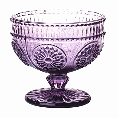 Keypro Flower Embossed Glass Footed Ice Cream Bowl, Dessert Bowl, Trifle Bowl, Cocktail Glass for Home Party, Wedding and Gift, 9OZ, 1 Piece (Purple)