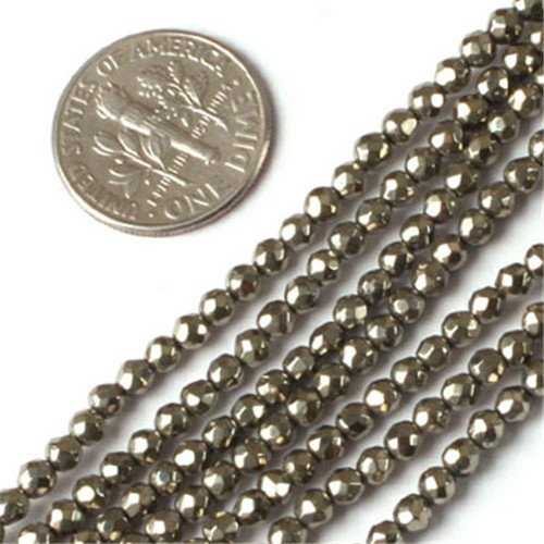 - GEM-insid Silver Gray Pyrite Gemstone Loose Beads Natural Energy Power Beads For Jewelry Making 3mm Round Faceted 15