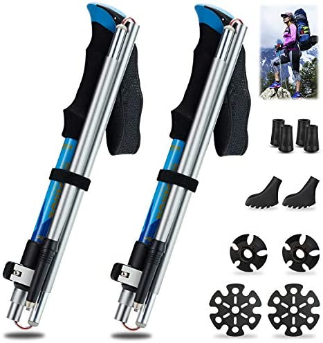 SUKCESO Trekking Poles. 7075 Aluminum Alloy. Ultra-Strong, Lightweight Hiking Poles. 5-Section Collapsible Telescopic Adjustable Walking Sticks 1 Pair