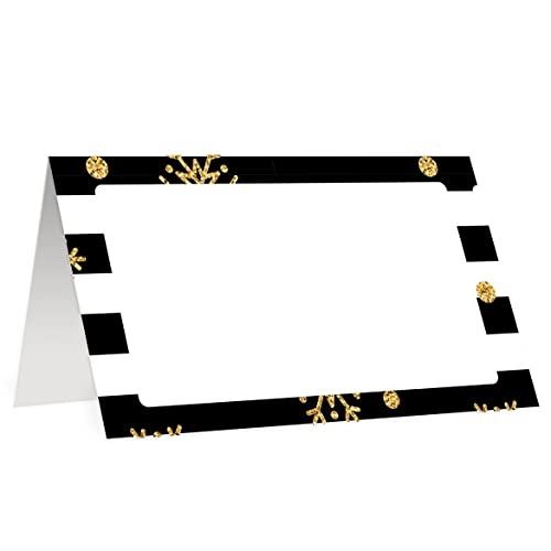 christmas party decor 50 pack place cards modern snowflake black stripe table tent setting blank guest