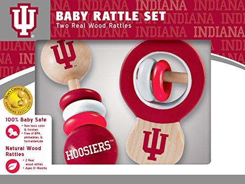 MasterPieces NCAA Indiana Hoosiers Real Wood Baby Rattles (2-Pack) ()