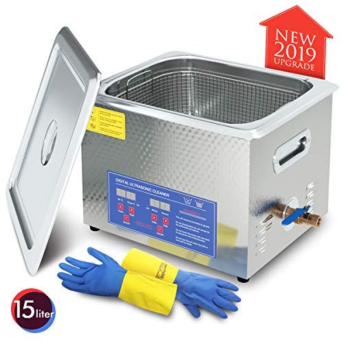 2019 Upgrade 600W Heated Ultrasonic Cleaner 15L Stainless Steel Sonic Bath for Guns Carburetors Injectors Parts and PCB with Free Rubber Gloves Gifts Use in Automotive and Firearm Industry DAREFLOW