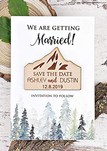Mountain Save The Date, Rustic Wedding Save The Date, Wooden Save The Date Magnet, Forest Save The Date Card, Destination Wedding Save The Date - SET OF 20 -