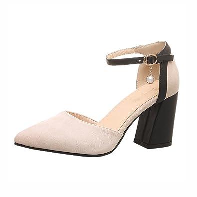 290cf884e5909 Agodor Womens High Block Heel Ankle Strap Pumps Closed Toe Elegant Shoes  Beige