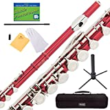 Mendini Closed Hole C Red Flute with Stand, 1 Year Warranty, Case, Cleaning Rod, Cloth, Joint Grease, and Gloves - MFE-RD+SD+PB