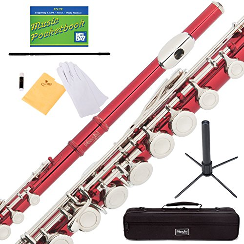 Mendini Closed Hole C Red Flute with Stand, 1 Year Warranty, Case, Cleaning Rod, Cloth, Joint Grease, and Gloves - MFE-RD+SD+PB by Mendini
