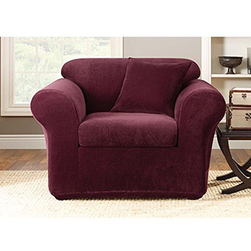 Sure Fit Stretch Metro 2-Piece-Chair Slipcover-Burgundy (SF39420)