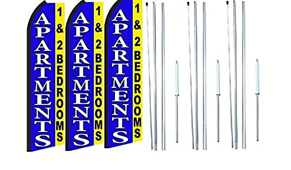Apartments Now Available// 1/&2 Bedrooms King Size Swooper Flag Sign with Pole and Full Assembly Pack of 2