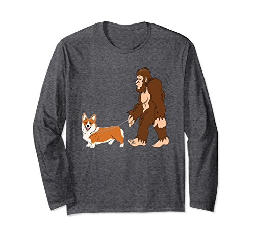 Unisex Bigfoot Walking Welsh Corgi UFO Believer LS XL: Dark Heather