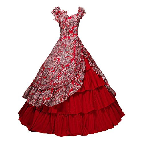 Partiss Womens Victorian Civil War Costume Southern Belle Floral Ball Gown Dress,XXL,Red -
