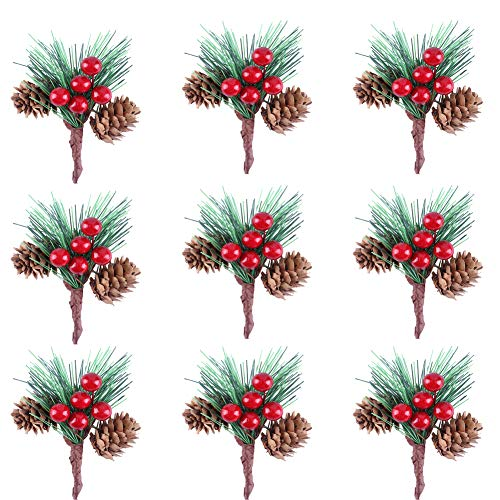 Greatstar 20Pcs Mini Pine Berry Branches Artificial Pine Cone Flower Christmas Tree Accessory Berry Pics Flower Small Christmas Ornament Accessory