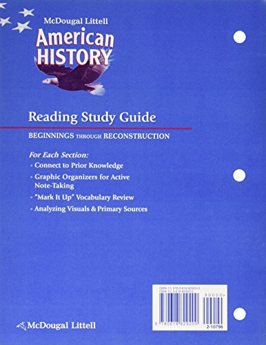 American History, Grades 6-8 Beginnings Through Reconstruction Reading  Study Guide: Mcdougal Littell American History (McDougal Littell Middle  School