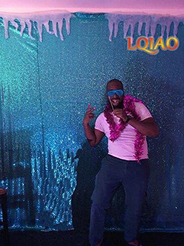 LQIAO ターコイズスパンコール背景幕 8フィートx8フィート キラキラスパンコール生地 写真背景幕 刺繍 フルスパンコール メッシュ生地 背景 パーティー ウェディング セレモニー 背景   B07GN89R2C