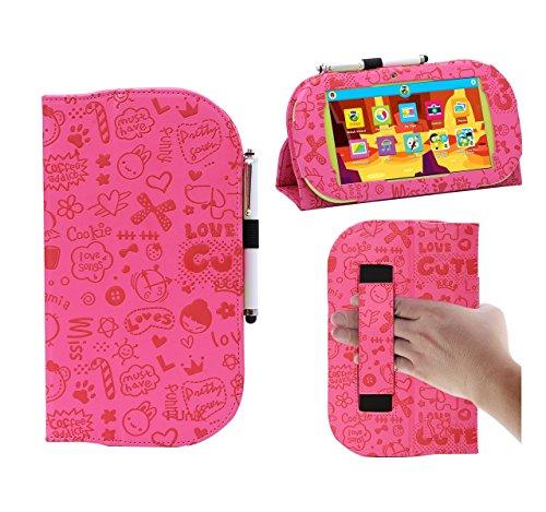 - i-UniK PBS Playtime Pad/Ematic Funtab 3 7 inch Handstrap Kid Tablet Case with Bonus Stylus (Cute Pink)