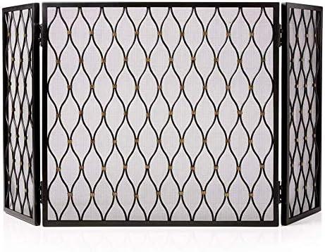 暖炉用品・アクセサリ メッシュと3つのパネル折り畳み式の火災画面、特大鍛鉄スパークガード暖炉フェンスベビーセーフ証明、56×31inch (Color : Black)