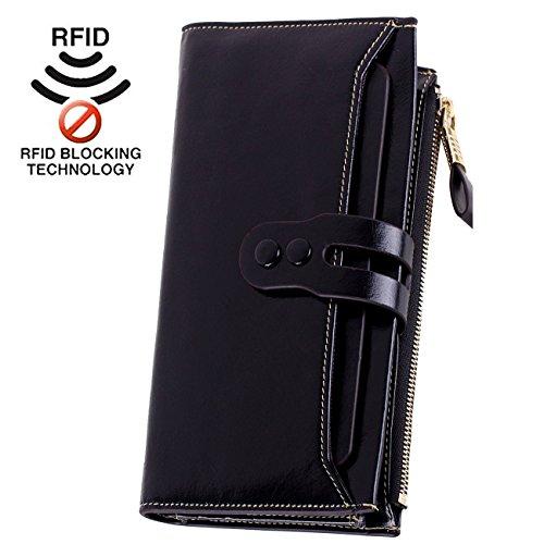 Lecxci Women Genuine Leather Large Checkbook, Zipper Multi Credit Cards Clutch Handbags Wallets for Women (Black RFID Blocking) Image
