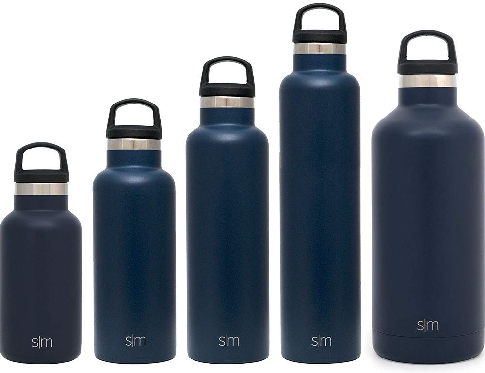 Simple Modern 12oz Ascent Water Bottle - Stainless Steel Hydro Kids Flask w/Handle Lid - Double Wall Vacuum Insulated Navy Reusable Tumbler Small Metal Coffee Leakproof Thermos - Deep Ocean by Simple Modern