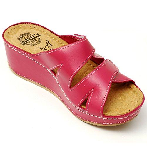 Femme Chaussons D115 Dames Cuir Chaussures Punto Sandales BRIL Rosso Sabots Mules Dr Rose en 01wTtqP