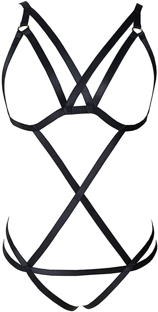Details about  /Black Whole Body New Women Body Harness Bra Cage Top Lingerie Adjustable Si BRPJ