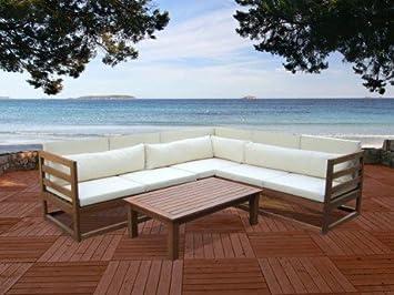 Salon de jardin MADURA II en bois d\'eucalyptus: un canapé 5 places ...