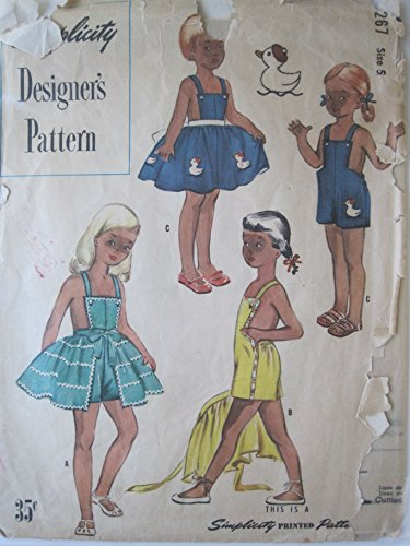 (Simplicity Pattern 8267 Vintage Child's Playsuit and Overskirt Size 5)