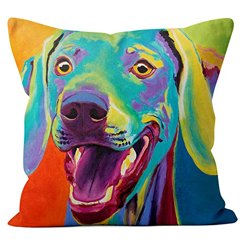 Weimaraner Pillow Throw Pillow Couch Cushion Decorative Accent Pillowcase Case Cover Dog Lover Gift Pet Gifts Dogs Colorful Art (18 Inch X 18 Inch With Pillow Insert)