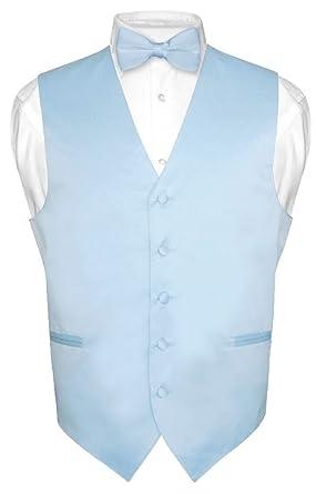 19566b3c357 Men's Dress Vest & Bowtie Solid Baby Blue Color Bow Tie Set for Suit ...