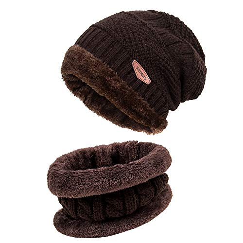 636562ae0b5 REDESS Winter Warm Beanie Knitting Hat Scarf Neck Warmer Set for Men and  Women