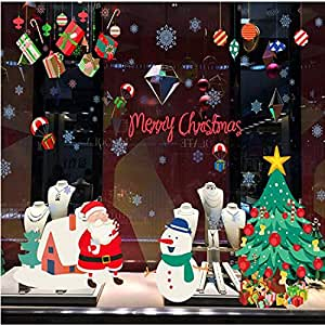 Christmas tree Christmas Snowman stars waterproof Removable Wall Stickers