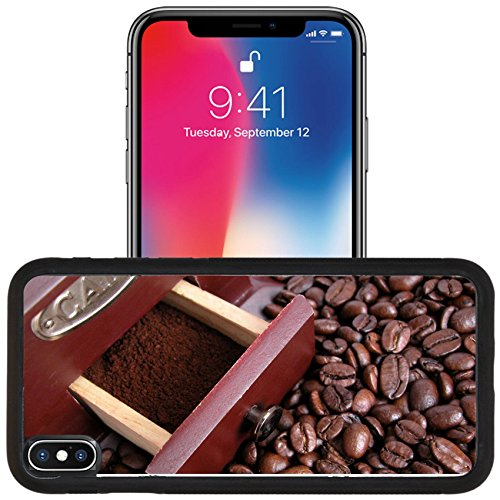 Luxlady Apple iPhone x iPhone 10 Aluminum Backplate Bumper Snap Case IMAGE ID 518738 coffee grinder on coffee background