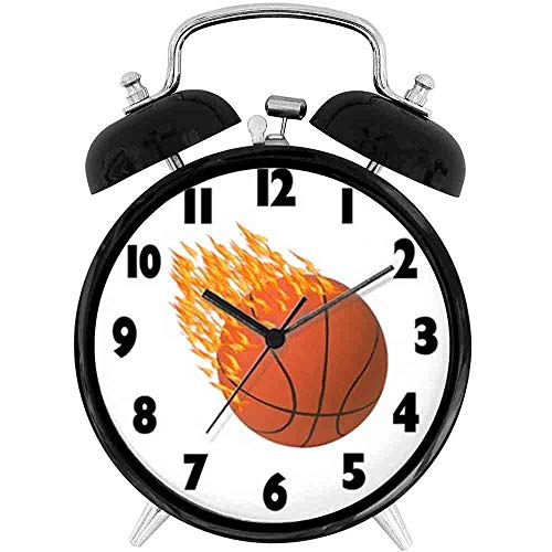 22yiihannz Desk Clock 4in Hot Basketball Wall Clock - Unique Decorative Battery Operated Quartz Ring Alarm Clock for Home,Office,Bedroom.
