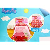 Peppa Pig Full Sized 5 Piece Bedding Set - Reversible Comforter and Sheet Set