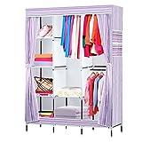 NEX Wardrobe DIY Clothes Storage Cabinet Portable Tool Organizer Bedroom Closet Doll Collection(Purple)