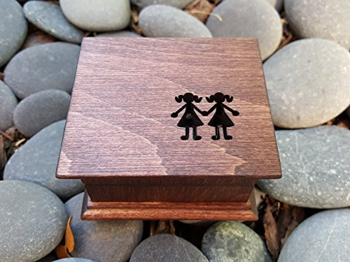 Custom engraved music box with sisters engraved on the top, great birthday gift for your sisters or a great maid of honor gift